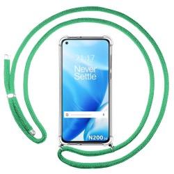 Funda Colgante Transparente para OnePlus Nord N200 5G con Cordon Verde Agua