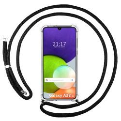 Funda Colgante Transparente para Samsung Galaxy A22 LTE 4G con Cordon Negro