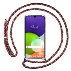 Funda Colgante Transparente para Samsung Galaxy A22 LTE 4G con Cordon Rosa / Dorado