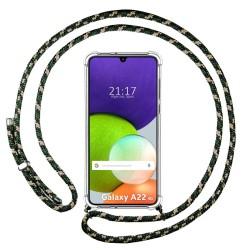 Funda Colgante Transparente para Samsung Galaxy A22 LTE 4G con Cordon Verde / Dorado