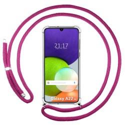 Funda Colgante Transparente para Samsung Galaxy A22 LTE 4G con Cordon Rosa Fucsia