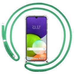 Funda Colgante Transparente para Samsung Galaxy A22 LTE 4G con Cordon Verde Agua
