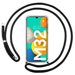 Funda Colgante Transparente para Samsung Galaxy M32 con Cordon Negro
