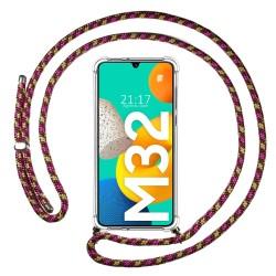 Funda Colgante Transparente para Samsung Galaxy M32 con Cordon Rosa / Dorado