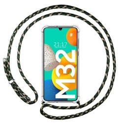Funda Colgante Transparente para Samsung Galaxy M32 con Cordon Verde / Dorado