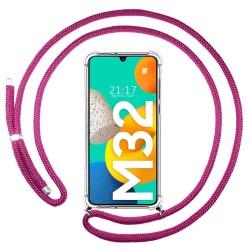 Funda Colgante Transparente para Samsung Galaxy M32 con Cordon Rosa Fucsia