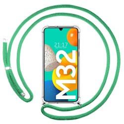 Funda Colgante Transparente para Samsung Galaxy M32 con Cordon Verde Agua