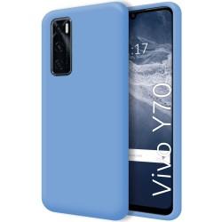 Funda Silicona Líquida Ultra Suave para Vivo Y70 color Azul