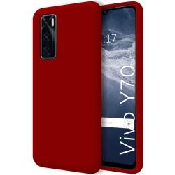 Funda Silicona Líquida Ultra Suave para Vivo Y70 color Roja