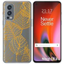 Funda Silicona Transparente para OnePlus Nord 2 5G diseño Hojas Dibujos