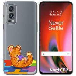 Funda Silicona Transparente para OnePlus Nord 2 5G diseño Leopardo Dibujos