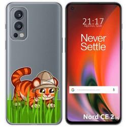 Funda Silicona Transparente para OnePlus Nord 2 5G diseño Tigre Dibujos