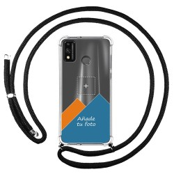 Personaliza tu Funda Colgante Transparente para Huawei Honor 9X Lite con Cordon Negro Dibujo Personalizada