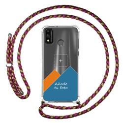 Personaliza tu Funda Colgante Transparente para Huawei Honor 9X Lite con Cordon Rosa / Dorado Dibujo Personalizada