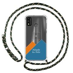 Personaliza tu Funda Colgante Transparente para Huawei Honor 9X Lite con Cordon Verde / Dorado Dibujo Personalizada
