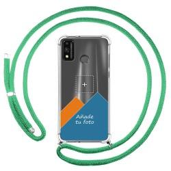 Personaliza tu Funda Colgante Transparente para Huawei Honor 9X Lite con Cordon Verde Agua Dibujo Personalizada