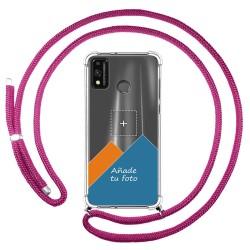 Personaliza tu Funda Colgante Transparente para Huawei Honor 9X Lite con Cordon Rosa Fucsia Dibujo Personalizada