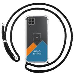 Personaliza tu Funda Colgante Transparente para Samsung Galaxy A22 LTE 4G con Cordon Negro Dibujo Personalizada