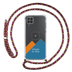 Personaliza tu Funda Colgante Transparente para Samsung Galaxy A22 LTE 4G con Cordon Rosa / Dorado Dibujo Personalizada