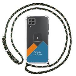 Personaliza tu Funda Colgante Transparente para Samsung Galaxy A22 LTE 4G con Cordon Verde / Dorado Dibujo Personalizada
