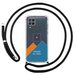 Personaliza tu Funda Colgante Transparente para Samsung Galaxy M32 con Cordon Negro Dibujo Personalizada