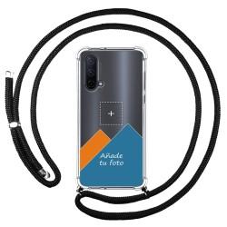 Personaliza tu Funda Colgante Transparente para OnePlus Nord CE 5G con Cordon Negro Dibujo Personalizada