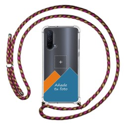 Personaliza tu Funda Colgante Transparente para OnePlus Nord CE 5G con Cordon Rosa / Dorado Dibujo Personalizada