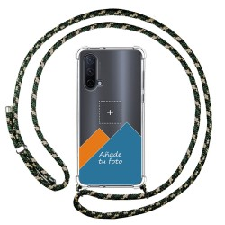 Personaliza tu Funda Colgante Transparente para OnePlus Nord CE 5G con Cordon Verde / Dorado Dibujo Personalizada