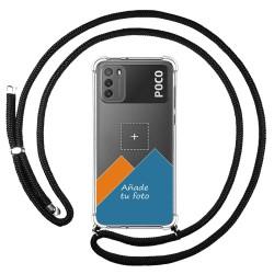 Personaliza tu Funda Colgante Transparente para Xiaomi POCO M3 con Cordon Negro Dibujo Personalizada