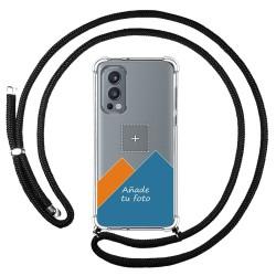 Personaliza tu Funda Colgante Transparente para OnePlus Nord 2 5G con Cordon Negro Dibujo Personalizada