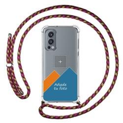 Personaliza tu Funda Colgante Transparente para OnePlus Nord 2 5G con Cordon Rosa / Dorado Dibujo Personalizada