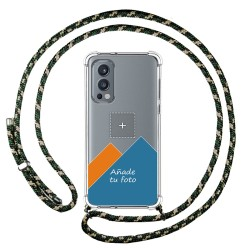 Personaliza tu Funda Colgante Transparente para OnePlus Nord 2 5G con Cordon Verde / Dorado Dibujo Personalizada