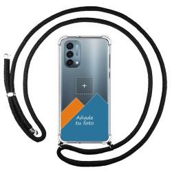 Personaliza tu Funda Colgante Transparente para OnePlus Nord N200 5G con Cordon Negro Dibujo Personalizada