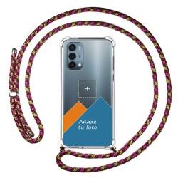 Personaliza tu Funda Colgante Transparente para OnePlus Nord N200 5G con Cordon Rosa / Dorado Dibujo Personalizada