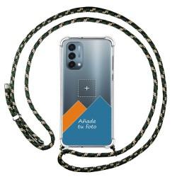 Personaliza tu Funda Colgante Transparente para OnePlus Nord N200 5G con Cordon Verde / Dorado Dibujo Personalizada