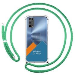 Personaliza tu Funda Colgante Transparente para Realme 7 5G con Cordon Verde Agua Dibujo Personalizada