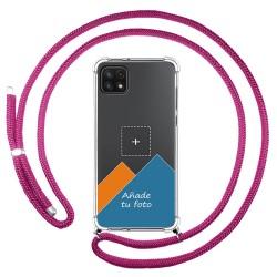 Personaliza tu Funda Colgante Transparente para Samsung Galaxy A22 LTE 4G con Cordon Rosa Fucsia Dibujo Personalizada