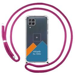 Personaliza tu Funda Colgante Transparente para Samsung Galaxy M32 con Cordon Rosa Fucsia Dibujo Personalizada