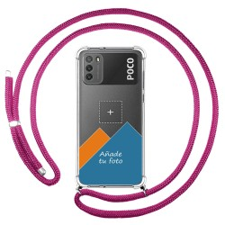 Personaliza tu Funda Colgante Transparente para Xiaomi POCO M3 con Cordon Rosa Fucsia Dibujo Personalizada