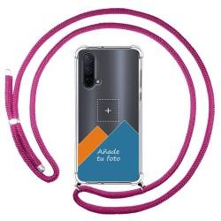 Personaliza tu Funda Colgante Transparente para OnePlus Nord 2 5G con Cordon Rosa Fucsia Dibujo Personalizada