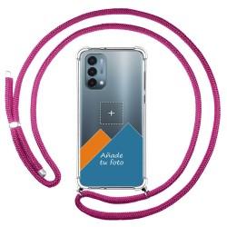 Personaliza tu Funda Colgante Transparente para OnePlus Nord N200 5G con Cordon Rosa Fucsia Dibujo Personalizada