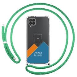 Personaliza tu Funda Colgante Transparente para Samsung Galaxy A22 LTE 4G con Cordon Verde Agua Dibujo Personalizada