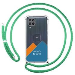 Personaliza tu Funda Colgante Transparente para Samsung Galaxy M32 con Cordon Verde Agua Dibujo Personalizada