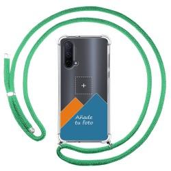 Personaliza tu Funda Colgante Transparente para OnePlus Nord CE 5G con Cordon Verde Agua Dibujo Personalizada