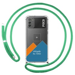 Personaliza tu Funda Colgante Transparente para Xiaomi POCO M3 con Cordon Verde Agua Dibujo Personalizada