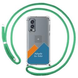 Personaliza tu Funda Colgante Transparente para OnePlus Nord 2 5G con Cordon Verde Agua Dibujo Personalizada