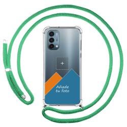 Personaliza tu Funda Colgante Transparente para OnePlus Nord N200 5G con Cordon Verde Agua Dibujo Personalizada