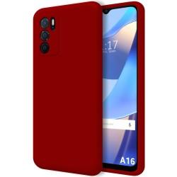 Funda Silicona Líquida Ultra Suave para Oppo A16 / A16s color Roja