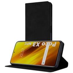 Funda Polipiel con tarjetero para Xiaomi POCO X3 NFC / X3 Pro color Negra