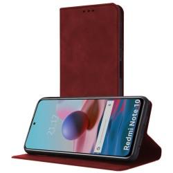 Funda Polipiel con tarjetero para Xiaomi Redmi Note 10 / 10S color Roja